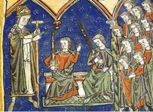 Miniatura medieval del monasterio de Toxosoutos, donde Diego Xelmírez, ordena a dos nuevos caballeros, en compañía de una comitiva de aristócratas. Siglo XIII