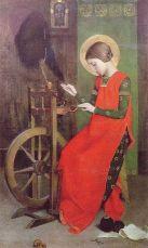 Santa Isabel de Hungría hilando para los pobres, Marianne Stokes (1855–1927)